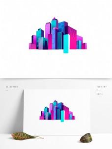 彩色立体高楼卡通元素