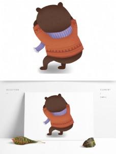 手绘卡通小熊趴在地上原创元素