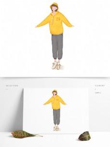 卡通手绘女孩穿着运动衣跳舞原创元素