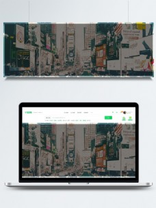 全原创手绘纽约时代广场背景
