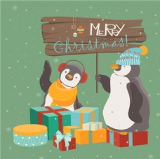 复古圣诞企鹅海报