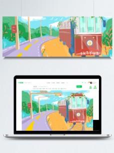彩色铁路火车背景设计
