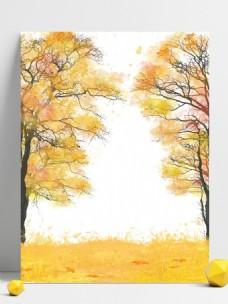 全原创简约小清新手绘树木落叶秋天背景