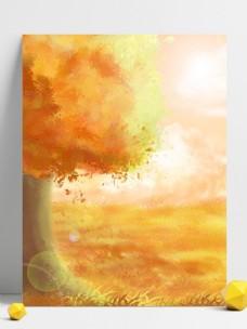 全原创手绘唯美金黄色秋天草地树木风景背景