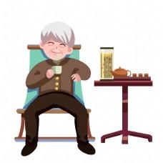喝茶的大爷手绘插画