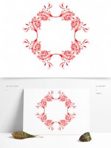欧式古典花纹边框红色装饰素材设计
