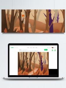 卡通森林秋天背景设计