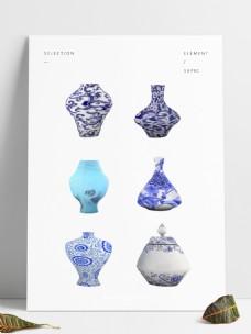 6款中式花纹陶瓷瓶青花瓷罐子艺术装饰瓶子