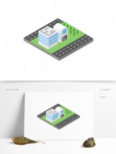 2.5D立体城市街道建筑场景元素可商用