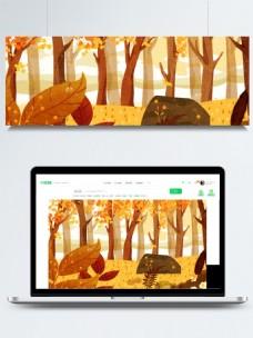 深秋树林露营背景设计