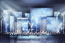 蓝色婚礼合影区效果图