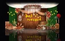 森系婚礼效果图迎宾区