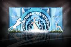 蓝白圆形拱门婚礼效果图
