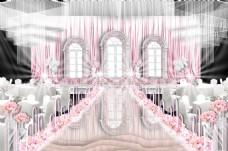 粉色温馨主舞台婚礼效果图