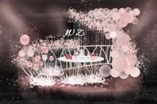 粉色婚礼甜品区效果图