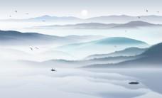 抽象水墨山水新中式背景墙