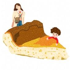 手绘美食披萨和可爱的卡通人物