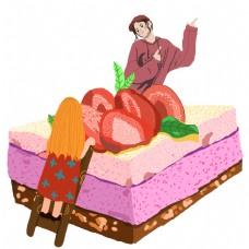 手绘草莓蛋糕和可爱的卡通人物