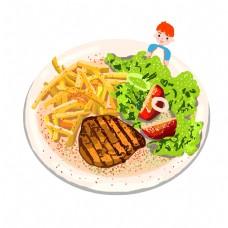 手绘美食意面和可爱卡通小孩