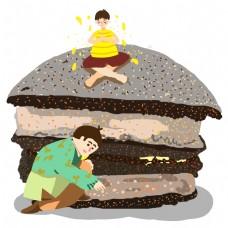 手绘黑森林蛋糕和可爱的卡通小人
