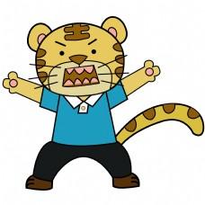 卡通矢量儿童画张大嘴巴的老虎
