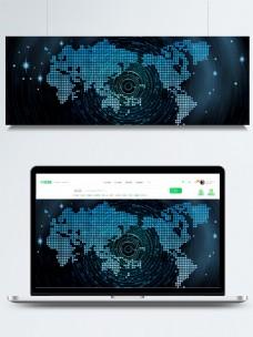 蓝色科技蓝光地图酷炫banner背景素材