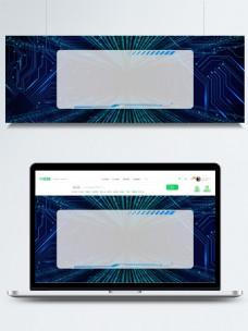 蓝色科技蓝光边框酷炫banner背景素材