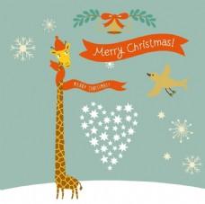 北欧复古圣诞卡通长颈鹿海报