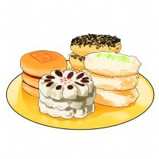 卡通手绘新年美食糕点