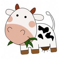 卡通矢量儿童画正在吃草的奶牛