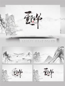 重阳节中国风水墨片头AE模板