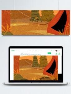 彩绘质感秋季露营背景设计
