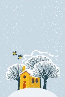 手绘卡通冬天背景
