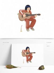 80复古弹吉他的女高中生可商用元素