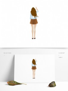 穿校服的青春女生人物背影设计