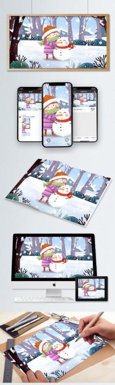 林里堆雪人的女孩插画