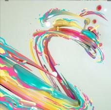 彩色笔触肌理
