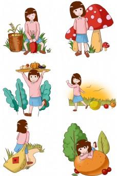 丰收主题卡通可爱女孩插画