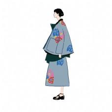 时尚插画女孩秋冬外套时尚阔型灰蓝PNG