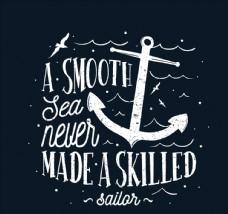 手繪船錨航海雋語