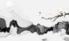 中国风现代抽象水彩背景