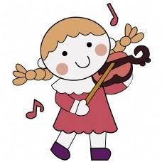 卡通矢量儿童画正在拉小提琴的女孩