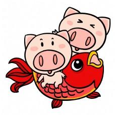 锦鲤可爱卡通猪猪插画