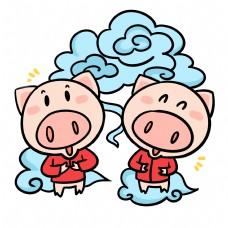 万事如意祥云可爱猪猪卡通插画