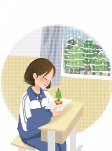 圣诞节冷色冬季手绘卡通美女