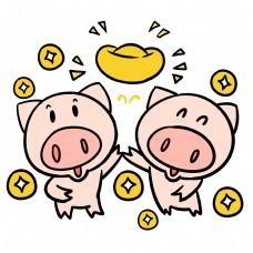 撒比散财的可爱猪猪卡通插画