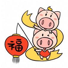 挑福灯笼的可爱猪猪卡通插画