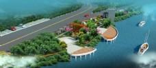 河岸景观设计案例鸟瞰效果图