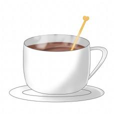手绘冬季饮料一杯热可可插画