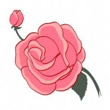 手绘一枝玫瑰花插画
